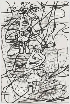 Jean Dubuffet Dessin Bonpiet beau neuille, October 5, 1982 Ink on paper with collage 10 x 6-3/4 inches