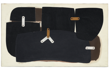 Conrad Marca-Relli M-14-67-X, 1967 Oil and fabric collage on canvas 23 x 39 1/8 inches (58.4 x 99.1 cm.) Signed 'MARCA-RELLI' (lower right)  Signed and numbered 'MARCA-RELLI M-14-67-X' (on the reverse)