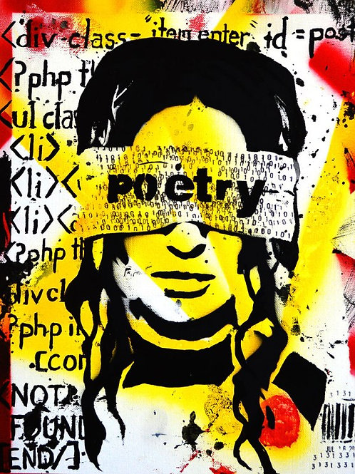 Programmed, Code is Poetry, Abstract, Graffiti, Print