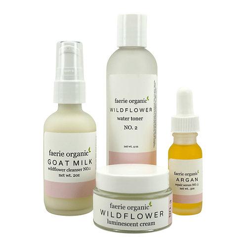 wildflower and argan skincare kit (dry/mature)