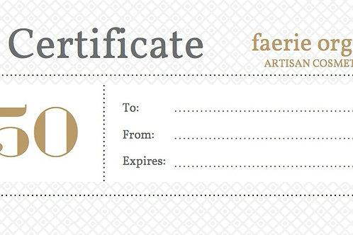 faerie organic gift certificate