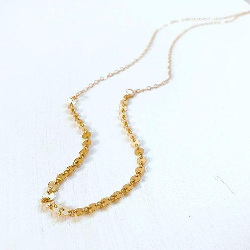 Tori Disc Chain Long Necklace