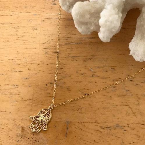 Hamsa Hand Gold Filled Necklace