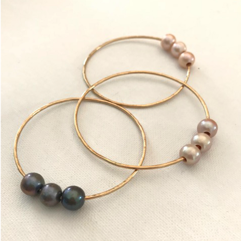 Triple Freshwater Pearl Gold Filled Bangle