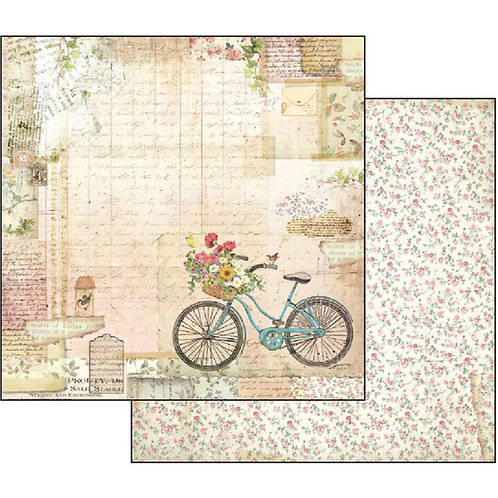 "Stamperia Double-Sided Cardstock 12""X12""-Gareden Bike"