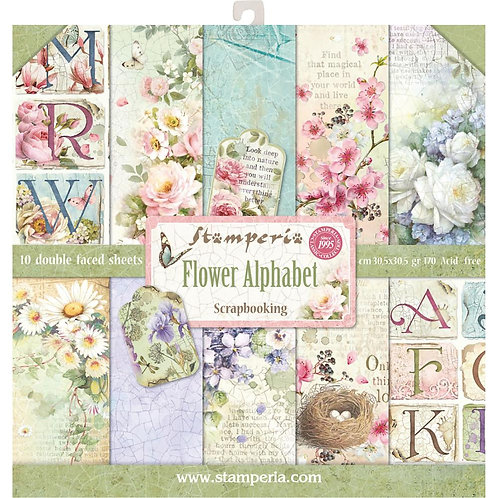 "Stamperia Double-Sided Paper Pad 12""X12"" - Flower Alphabet"
