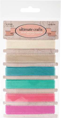 Ultimate Crafts Seam Binding Ribbon 6/Pkg-6 Colors/1 Metre Each