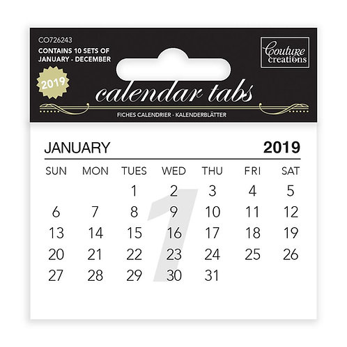 Calendar Tabs 2019 (10 sets of 12 months)