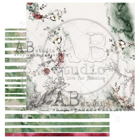 """Scrapbooking paper """"Breeze of the forest""""- sheet 7 - 12'x12'"""
