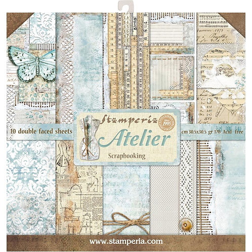 """Stamperia Double-Sided Paper Pad 12""""X12"""" 10/Pkg -Atelier"""