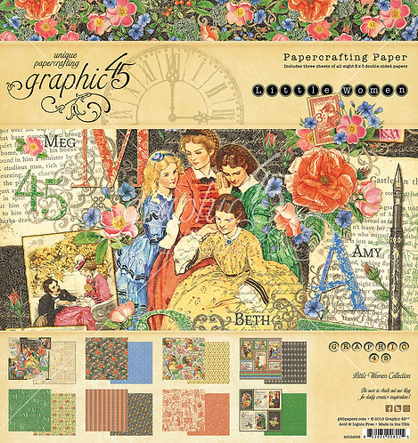 "Graphic 45 Double-Sided Paper Pad 8""X8"" 24/Pkg-Little Women, 8 Designs/3 Each"