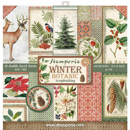 """Stamperia Double-Sided Paper Pad 12""""X12"""" 10/Pkg - Winter Botanic"""