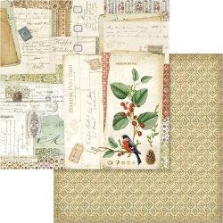 "Stamperia Double-Sided Cardstock 12""X12""- Winter Botanic Postcard"