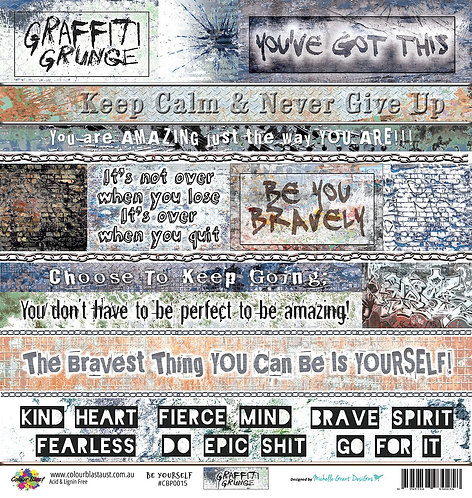 "Be Yourself - 12""x12"" Scrapbooking Paper - Word Sheet COLOUR BLAST"