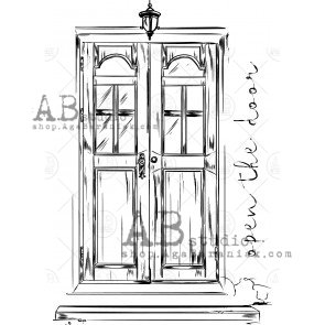 "Rubber stamp ID-474 ""vintage door"" AB Studio"