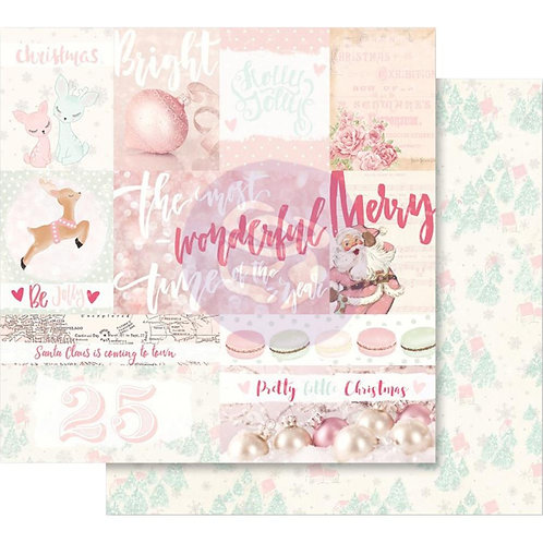 """Santa Baby Pink Foiled Double-Sided Cardstock 12""""X12""""-Pretty Little Christmas"""
