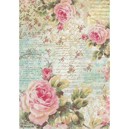 Stamperia Rice Paper Sheet A4 - Rose & Writing