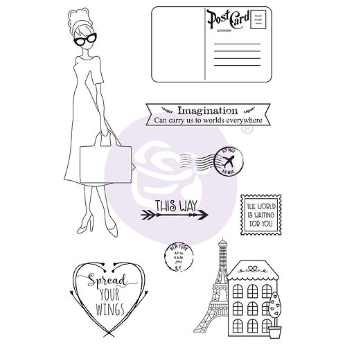 Julie Nutting Mixed Media Cling Rubber Stamps Travel Girl