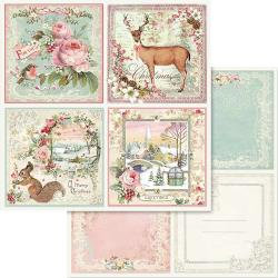 "Stamperia Double-Sided Cardstock 12""X12""-Pink Christmas Cards"