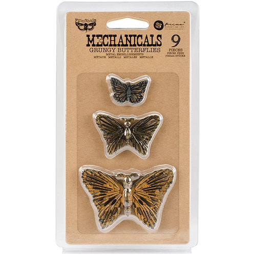 Finnabair Mechanicals Metal Embellishments-Grungy Butterflies 9/Pkg