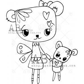 Rubber stamp ID-392 TandiArt bear AB Studio