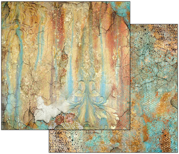 """Stamperia Double-Sided Cardstock 12""""X12""""-Time In An Illusion Rust Effect"""