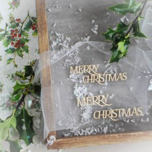 Merry Christmas word set  – Decorative laser cut chipboard elements.