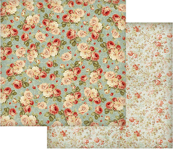 "Stamperia Double-Sided Cardstock 12""X12""-Floral Wallpaper On Turquoise"