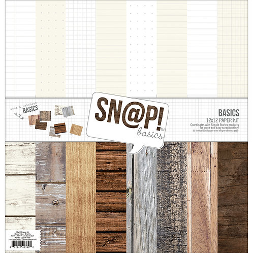 "Simple Stories Double-Sided Paper Pack 12""X12"" 8/Pkg-Sn@p! Wood & Notebook Basic"
