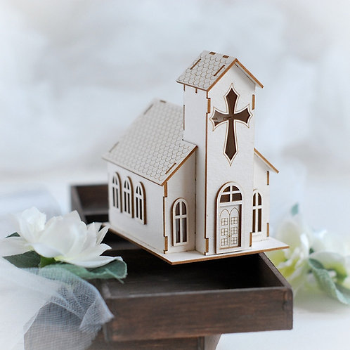 Christmas Collection 3D church – Decorative laser cut chipboard
