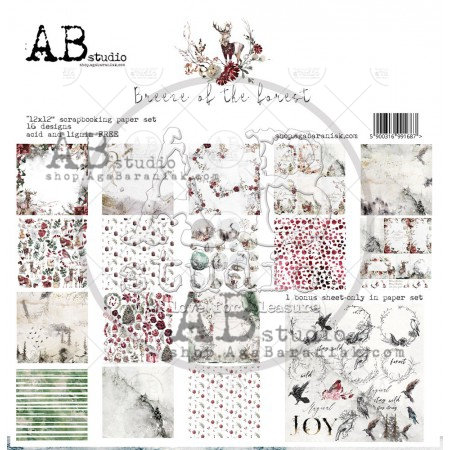 """Breeze of the forest""- scrapbooking paper set 8x 12'x12' + bonus"