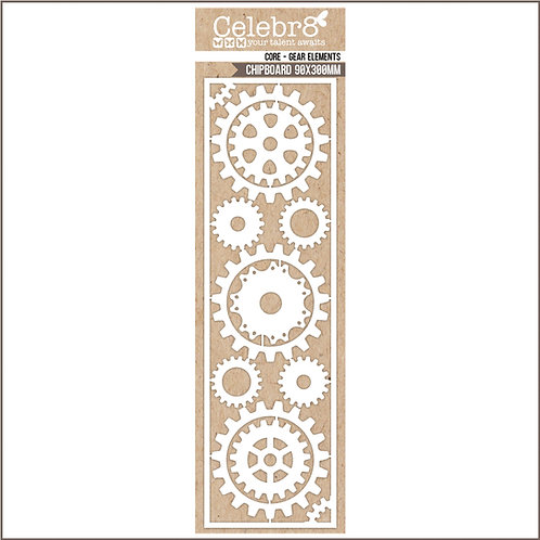 Title Chipboard Celebr8 Cogs and Gears
