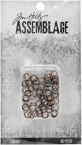 Tim Holtz Assemblage Findings 60/Pkg-Jump Rings Assorted Sizes