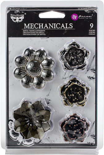 "Finnabair Mechanicals Metal Embellishments-Flowers, 1.5"" - 2"" 9/Pkg"
