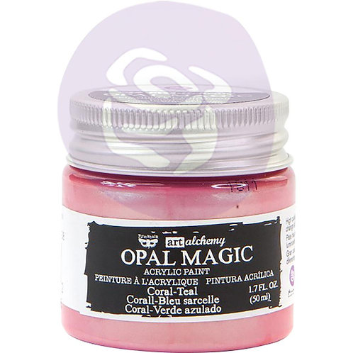 Finnabair Art Alchemy Opal Magic Acrylic Paint 1.7 Fl Oz - Coral Teal