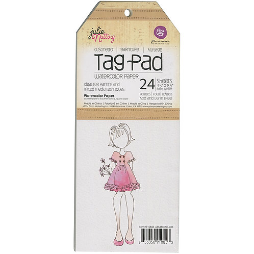"""Julie Nutting Mixed Media Tag Pad 24/Pkg-Watercolor 3.5""""X8.5"""""""