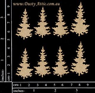 Chipboard - mini Christmas Trees - 8pk