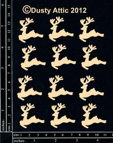 Chipboard - mini reindeer - 12pk