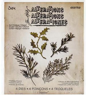 Sizzix Thinlits Dies By Tim Holtz 4/Pkg Holiday Greens