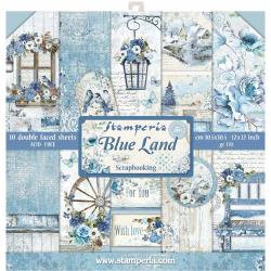 "Stamperia Double-Sided Paper Pad 12""X12"" 10/Pkg - Blue Land"