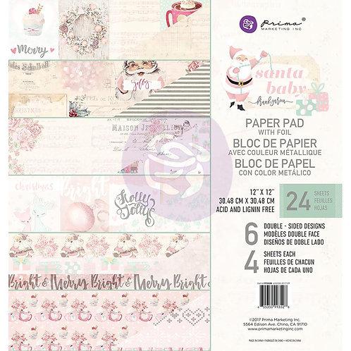 "Prima Marketing Double-Sided Paper Pad 12""X12"" 24/Pkg - Santa Baby"