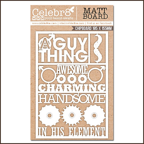 Title Chipboard Celebr8 Guy Thing