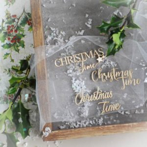 Christmas Time word set  – Decorative laser cut chipboard element