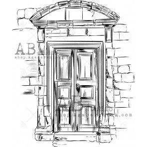"""Rubber stamp ID-475 """"vintage door"""" AB Studio"""