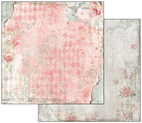 "Stamperia Double-Sided Cardstock 12""X12""-Dream Texture With Rose"