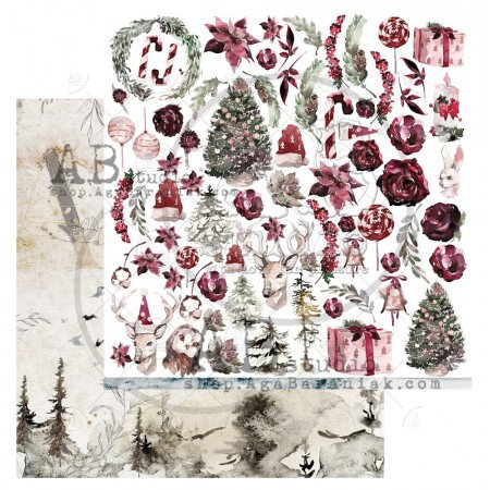 """Scrapbooking paper """"Breeze of the forest""""- sheet 6 - 12'x12'"""
