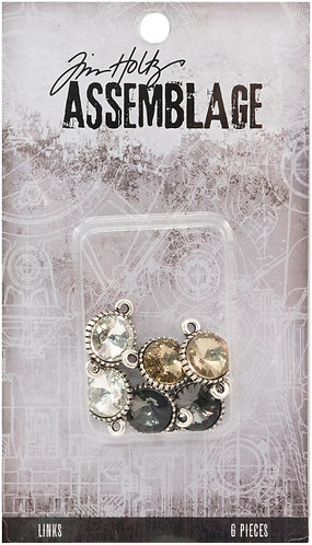 Tim Hotlz Assemblage Links 6/Pkg-Round Faceted Crystal
