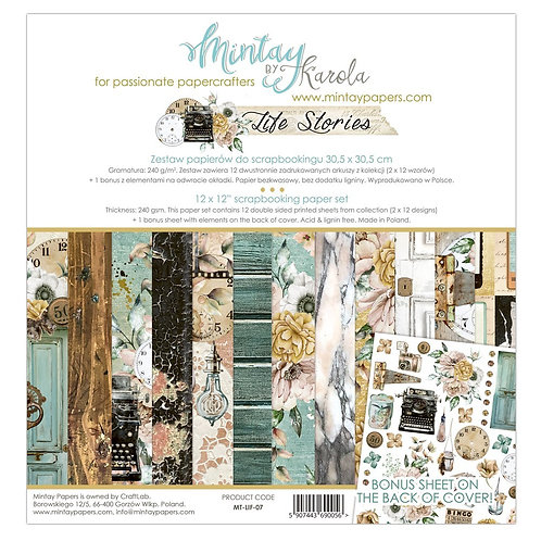 "Life Stories Mintay Scrapbook Paper pack 12"" x 12"""