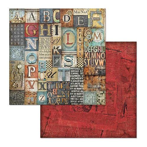 """Stamperia  Mechanical Fantasy Alphabet 12"""" x 12"""""""