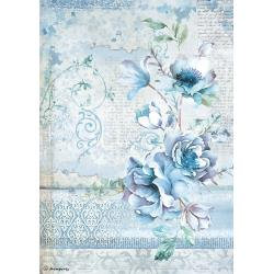 Stamperia Rice Paper Sheet A4 - Blue Flower